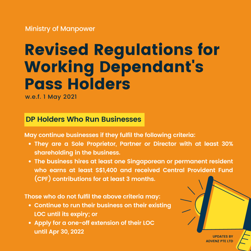Revised Regulations for Working Dependant's Pass Holders (MOM) - DP Holders Who Run Businesses